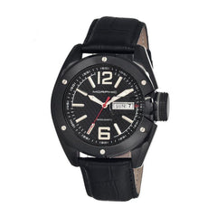 Morphic M16 Series Leather-Band Swiss Men's Watch - Black