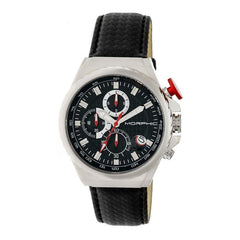 Morphic M39 Series Leather-Band Chronograph Watch - Silver/Black
