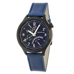 Morphic M44 Series Dual-Time Leather-Band Watch w/ Retrograde Date - Black/Blue