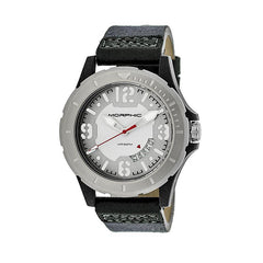 Morphic M47 Series Leather-Band Watch w/ Date - Grey/White