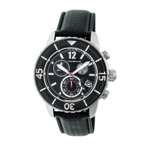 Morphic M51 Series Chronograph Leather-Band Watch w/Date - Silver/Black MPH5101