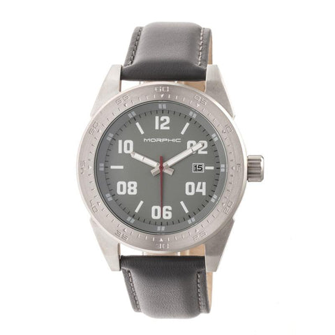 Morphic M63 Series Leather-Band Watch w/Date - Silver/Grey MPH6303