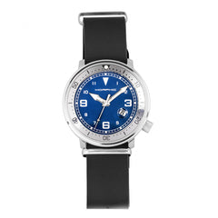 Morphic M74 Series Leather-Band Watch w/Magnified Date Display - Black/Grey/Blue