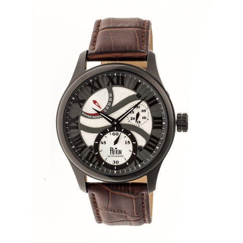 Reign Bhutan Leather-Band Automatic Watch - Black/Brown REIRN1604
