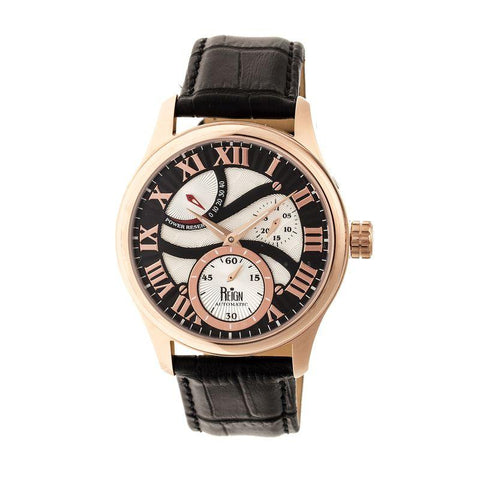 Reign Bhutan Leather-Band Automatic Watch - Rose Gold/Black REIRN1606
