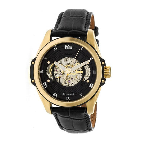 Reign Henley Automatic Semi-Skeleton Leather-Band Watch - Gold/Black REIRN4505