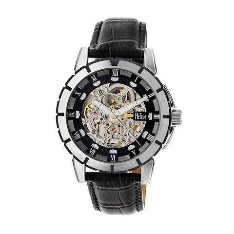 Reign Philippe Automatic Skeleton Leather-Band Watch - Black/Silver REIRN4604