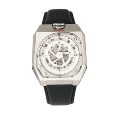 Reign Asher Automatic Sapphire Crystal Leather-Band Watch - Silver/Black