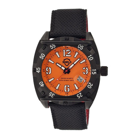 Shield Pilecki Leather-Band Swiss Mens Diver Watch - Black/Orange SLDSH0608