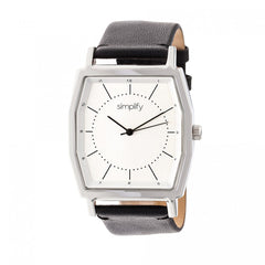 Simplify The 5400 Leather-Band Watch - Silver/Black