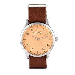Simplify The 5600 Leather-Band Watch - Nude/Light Brown