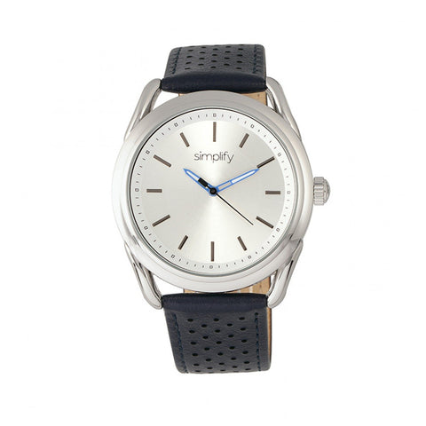 Simplify The 5900 Leather-Band Watch - Silver/Blue SIM5901