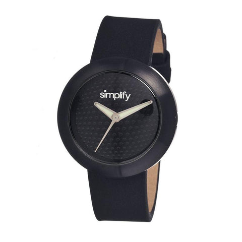 Simplify The 1200 Leather-Band Unisex Watch - Black SIM1207