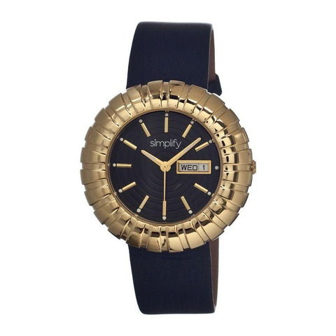 Simplify The 2100 Leather-Band Ladies Watch w/Date - Gold/Black SIM2104
