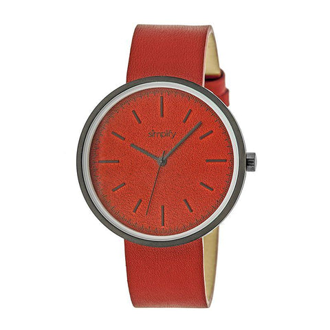 Simplify The 3000 Leather-Band Watch - Red SIM3002