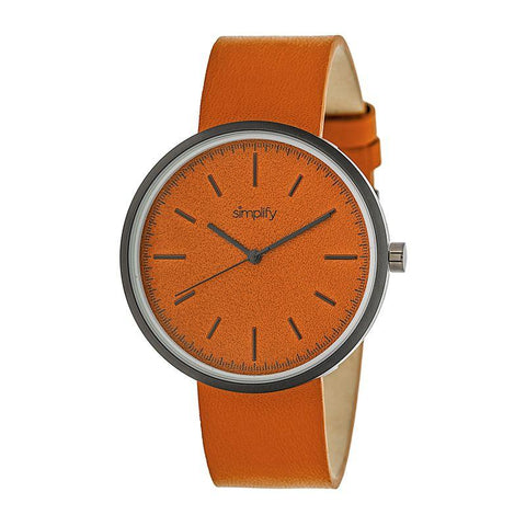 Simplify The 3000 Leather-Band Watch - Orange SIM3003