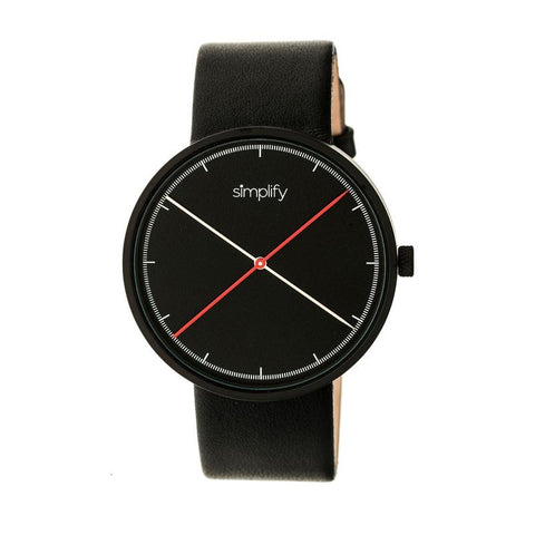 Simplify The 4100 Leather-Band Watch - Black SIM4101