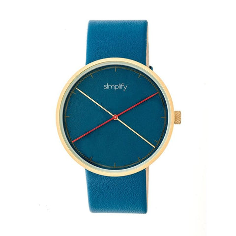 Simplify The 4100 Leather-Band Watch - Gold/Blue SIM4107