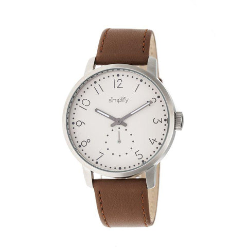 Simplify The 3400 Leather-Band Watch - Silver/Brown SIM3403