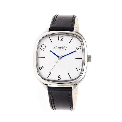 Simplify The 3500 Leather-Band Watch - Silver/Black SIM3501