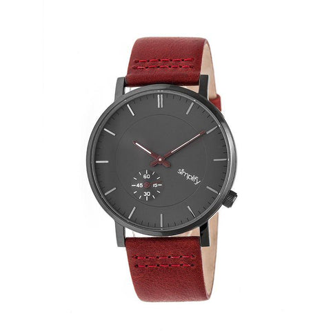 Simplify The 3600 Leather-Band Watch - Charcoal/Maroon SIM3605