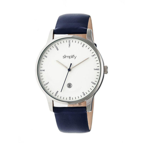 Simplify The 4300 Leather-Band Watch w/Date - Silver/Navy SIM4304
