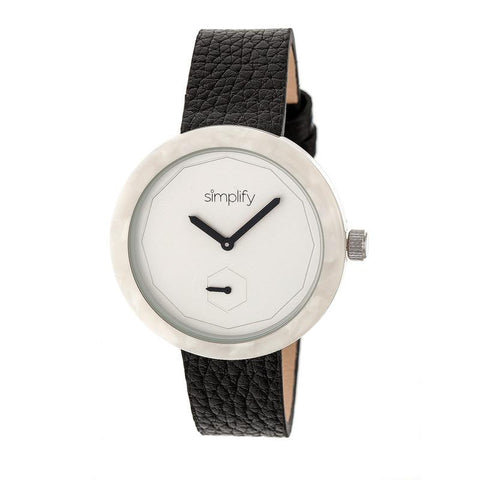 Simplify The 3700 Leather-Band Watch - Black/White SIM3701