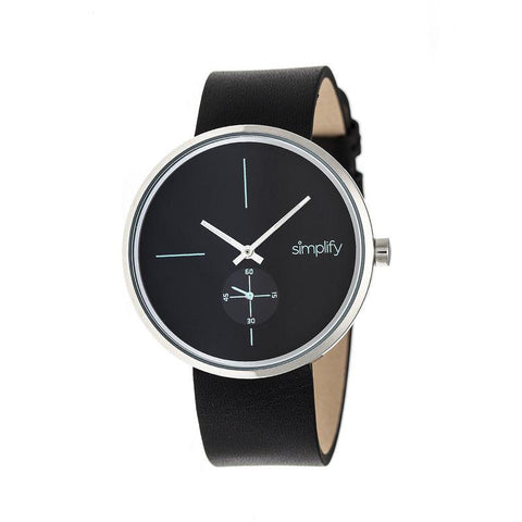 Simplify The 4400 Leather-Band Watch - Black/Silver SIM4402