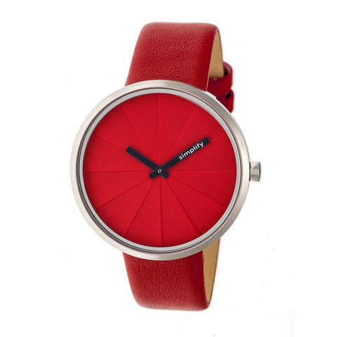 Simplify The 4000 Leather-Band Watch - Red SIM4003