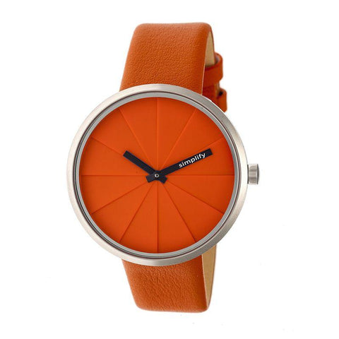 Simplify The 4000 Leather-Band Watch - Orange SIM4006