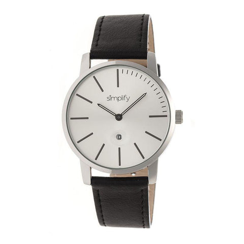 Simplify The 4700 Leather-Band Watch w/Date - Silver/Black SIM4701