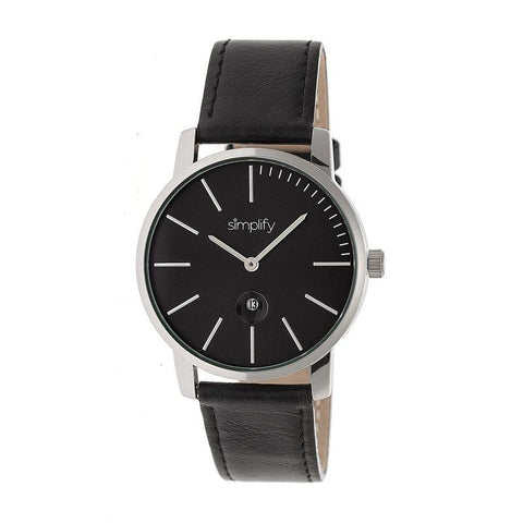 Simplify The 4700 Leather-Band Watch w/Date - Black SIM4702