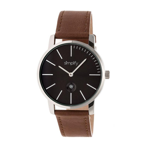 Simplify The 4700 Leather-Band Watch w/Date - Silver/Brown SIM4703