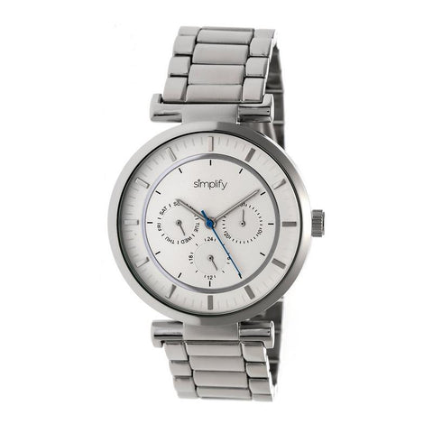 Simplify The 4800 Bracelet Watch w/Day/Date - Silver/White SIM4801