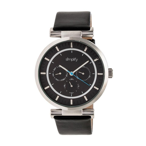 Simplify The 4800 Leather-Band Watch w/Day/Date - Black/Silver SIM4804