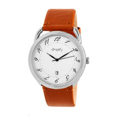 Simplify The 4900 Leather-Band Watch w/Date - Silver/Camel