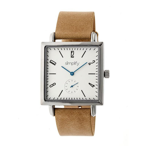 Simplify The 5000 Leather-Band Watch - Khaki/White SIM5005