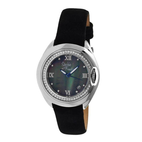 Sophie & Freda Belize MOP Ladies Watch w/ Date - Silver/Black SAFSF1002