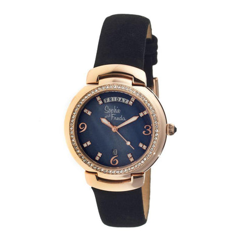 Sophie & Freda New Orleans MOP Leather-Band Watch - Rose Gold/Black SAFSF4008