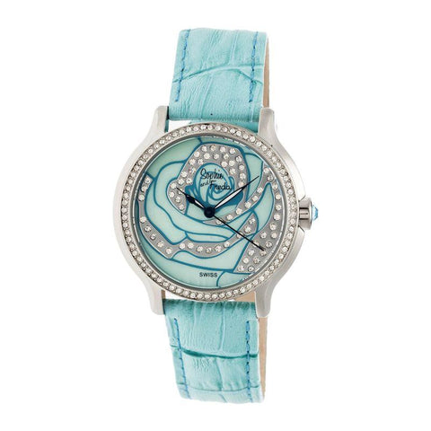 Sophie & Freda Monaco MOP Swiss Ladies Watch - Silver/Turquoise SAFSF2703