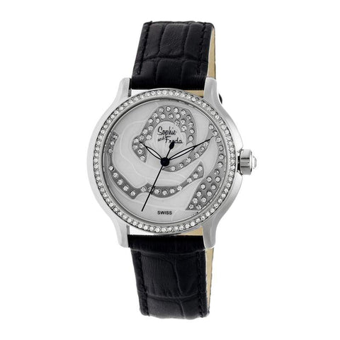 Sophie & Freda Monaco MOP Swiss Ladies Watch - Silver/Black SAFSF2707