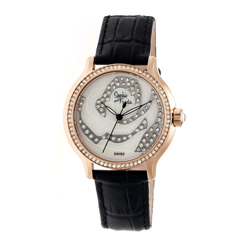 Sophie & Freda Monaco MOP Swiss Ladies Watch - Rose Gold/Black SAFSF2706