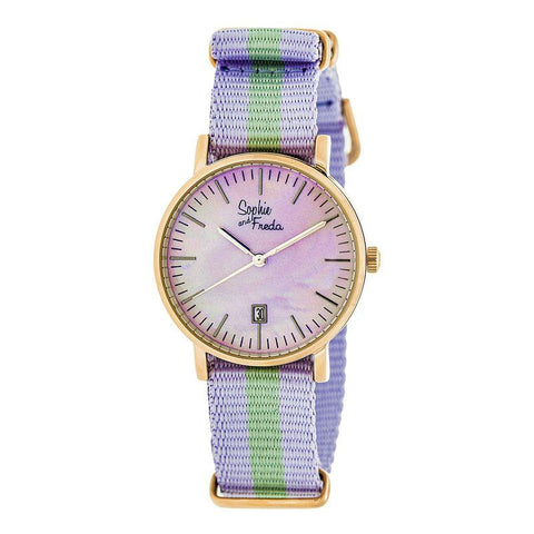 Sophie & Freda Nantucket Nylon-Band Ladies Watch - Rose Gold/Lavender SAFSF3306