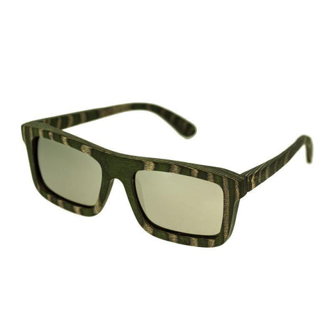 Spectrum Garcia Wood Polarized Sunglasses - Green Zebra/Silver SSGS120SR