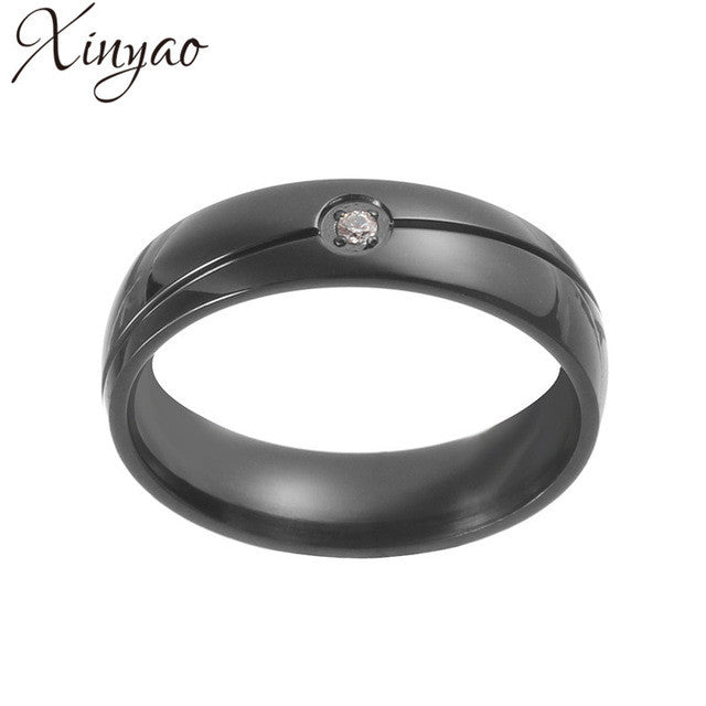 XINYAO 2017 Fashion Black Pave Zircon Crystal Rhinestone Rings Simple  Titanium Stainless Steel Rings Mens Anillo a453f7f17dc0