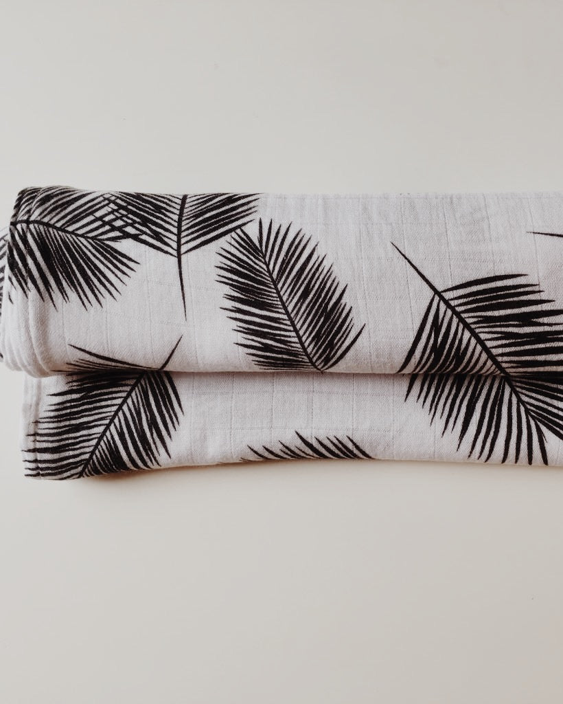 Miilk Black and White Palm Leaf Muslin