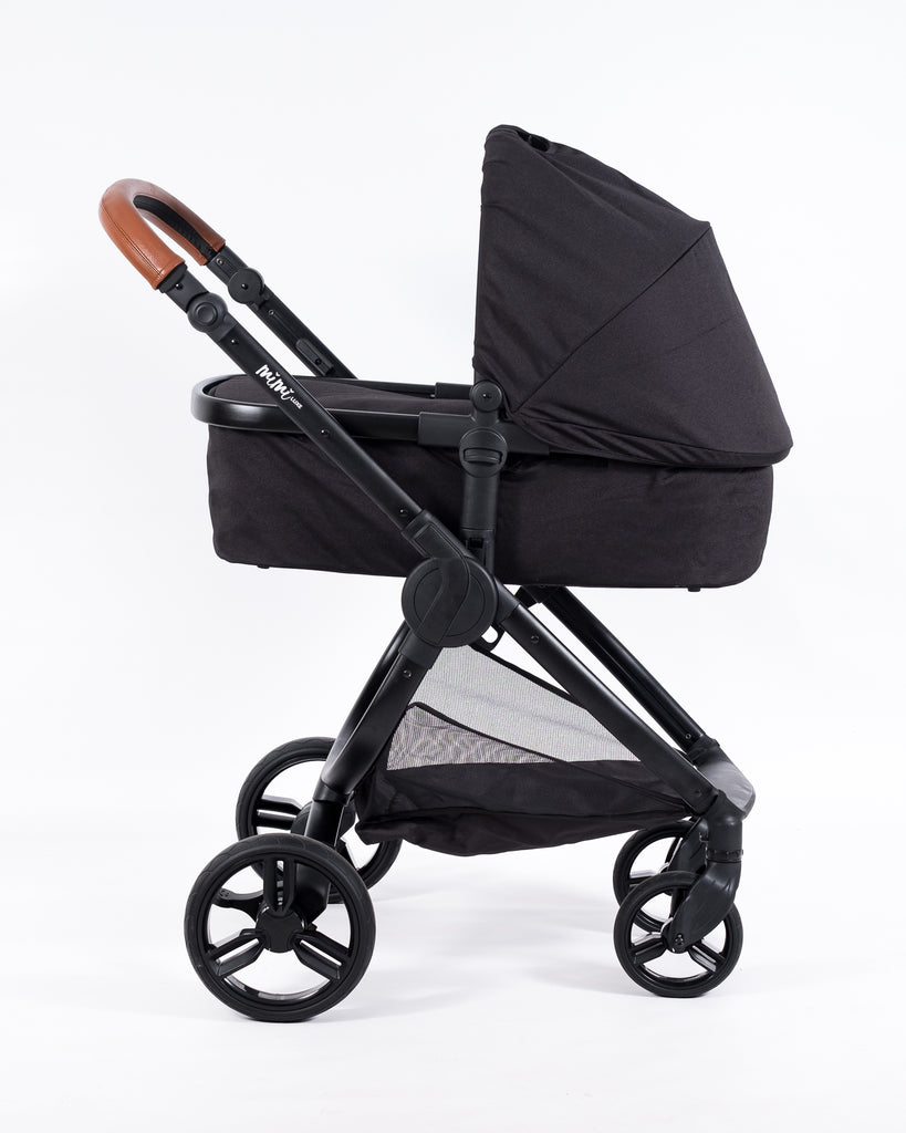 Mimi Luxe 3 in 1 - Carrycot Travel System | Black & Tan
