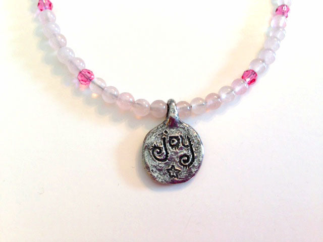 Pewter Fairy with Rose Quartz Necklace