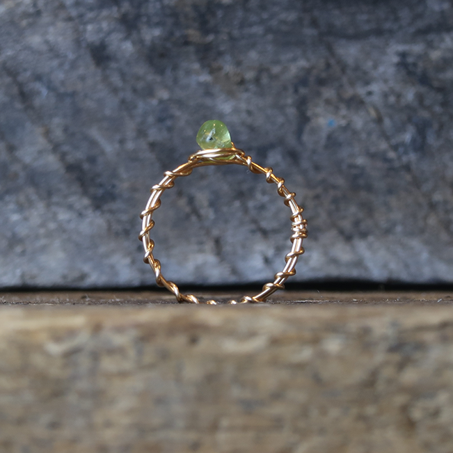 Rustic Peridot One Stone Ring