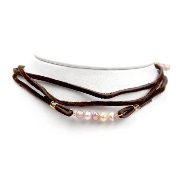 Brown Leather Crystal Wrap Choker